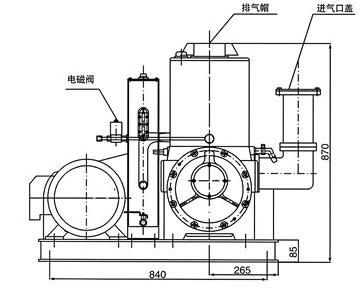 X型旋片式真空泵的外形尺寸图1