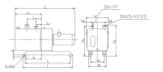 2XZ型旋片式真空泵安装尺寸图