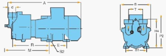 2BV-2060/2061/2070/2071水環真空泵外形尺寸