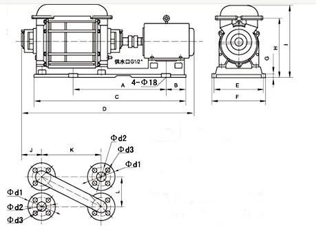2SK-1.5、3、6两级水环真空泵外形及安装尺寸