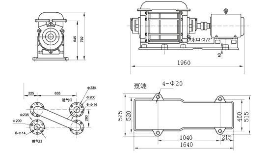 2SK-12两级水环真空泵外形及安装尺寸